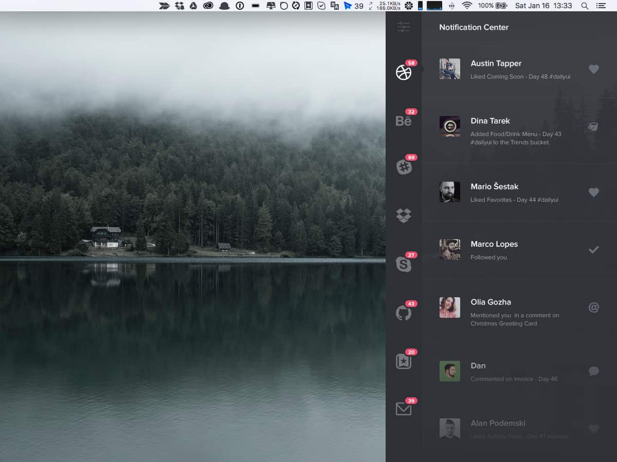 Notification center on mac by Sergiu Radu from UIGarage