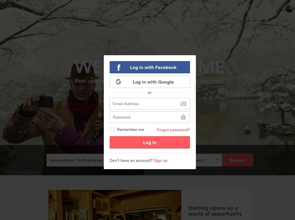 Login Overlay by Airbnb from UIGarage