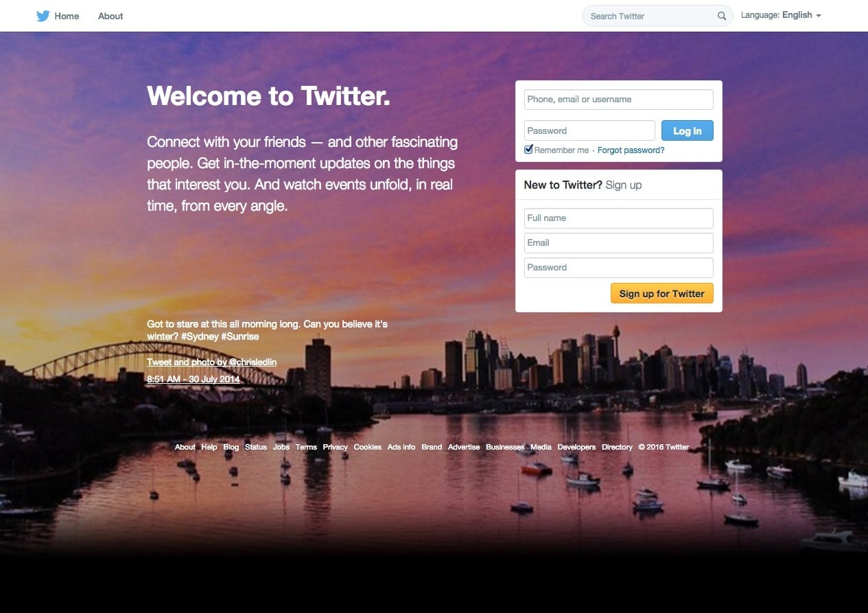 On boarding Process by Twitter from UIGarage
