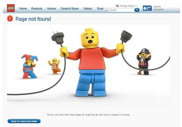 A creative 404 page by Lego from UIGarage