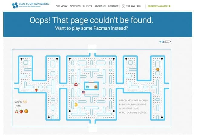 404 page by Blue Fountain Media from UIGarage