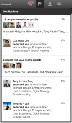 Activity Feed / Notifications by Linkedin from UIGarage