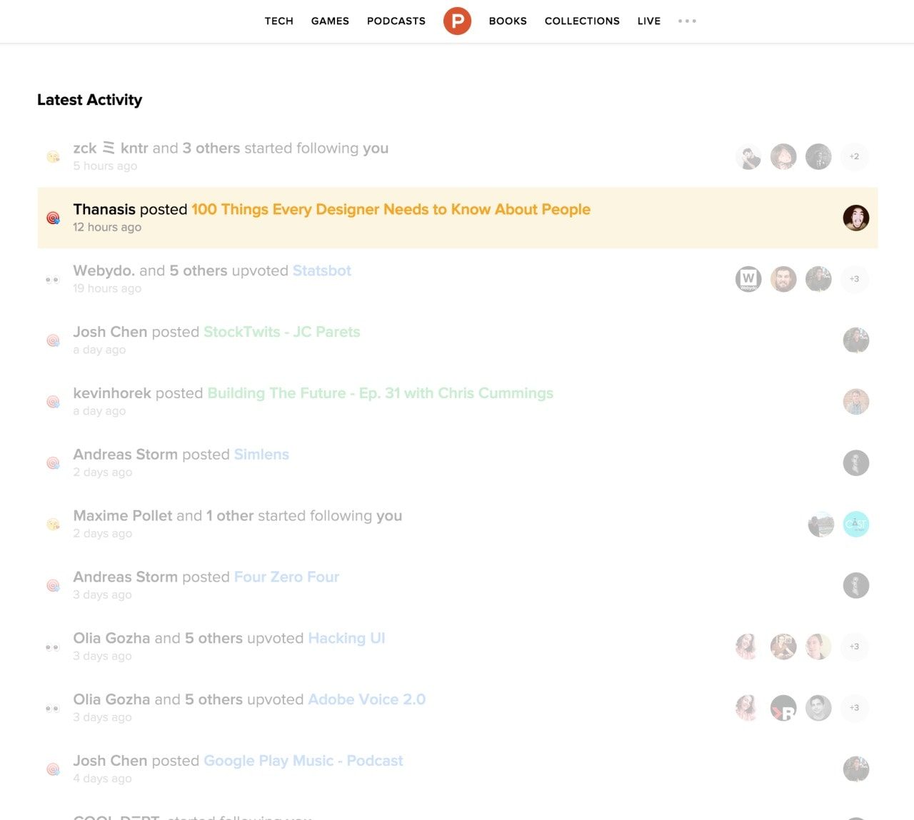 Activity feed / Notification by Producthunt from UIGarage