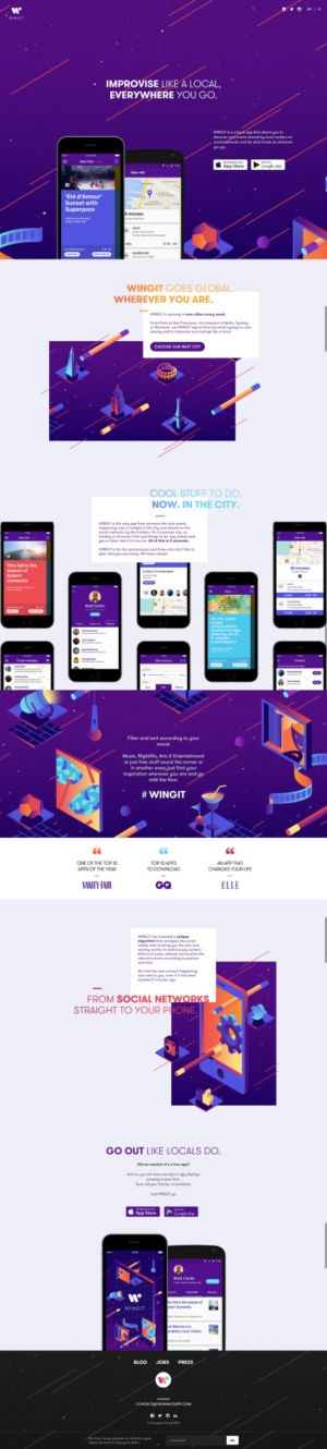Awesome Landing page by Wingit App from UIGarage