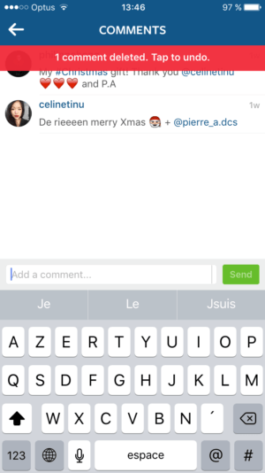 Comment Deleted Notification by Instagram from UIGarage