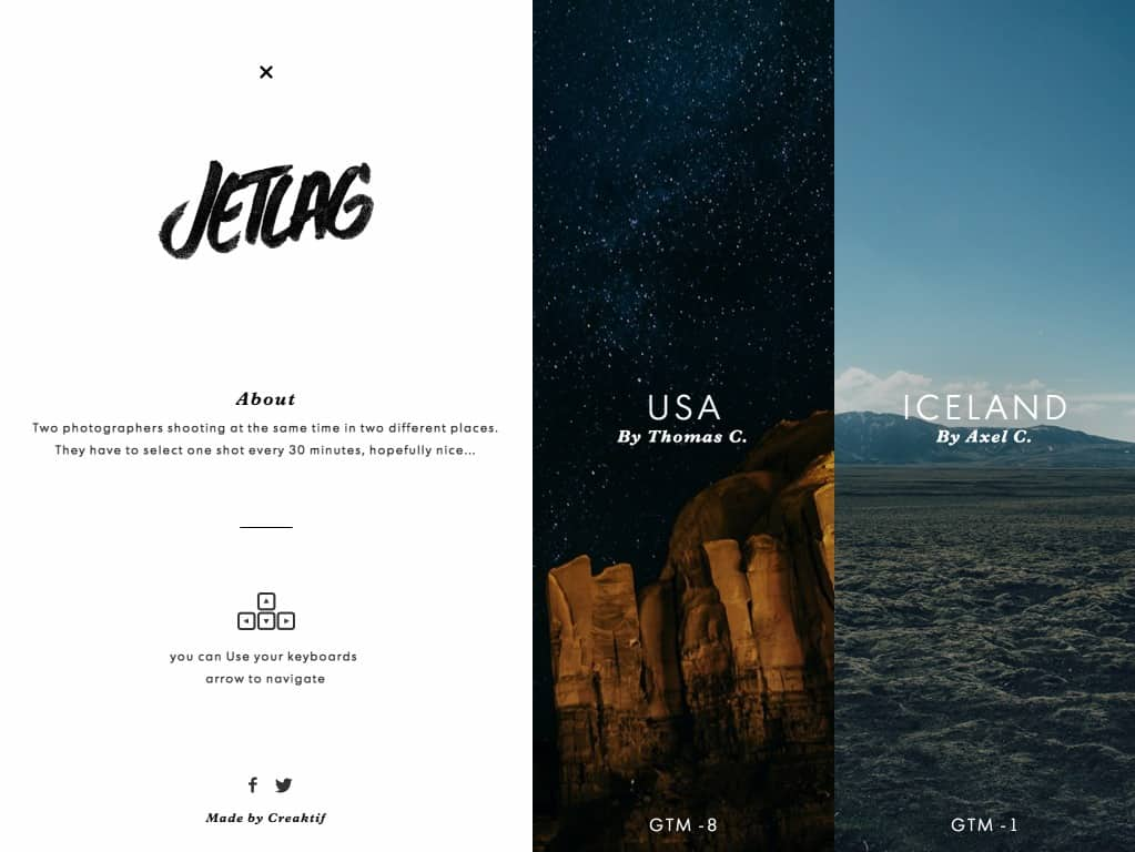 Fullscreen navigation design by Jetlag from UIGarage