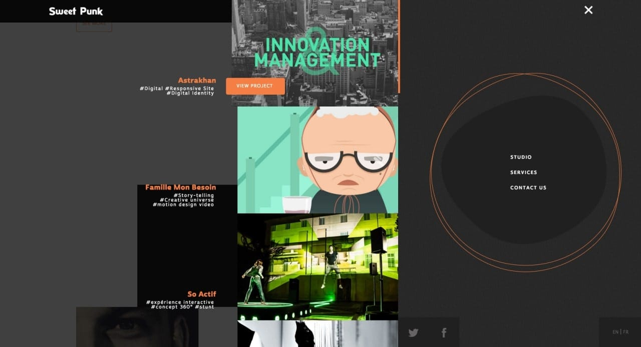 A very interactive and fullscreen menu navigation by Sweet Punk from UIGarage
