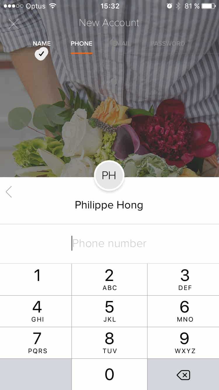 Signup process flow by Bloomthat from UIGarage
