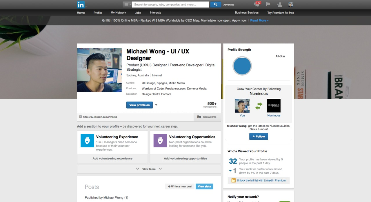 Profile page by LinkedIn from UIGarage