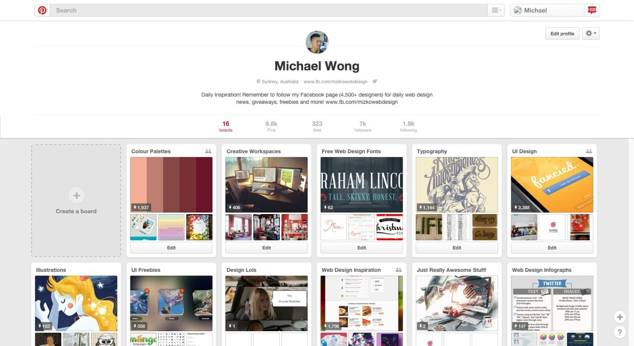 Profile page by Pinterest from UIGarage