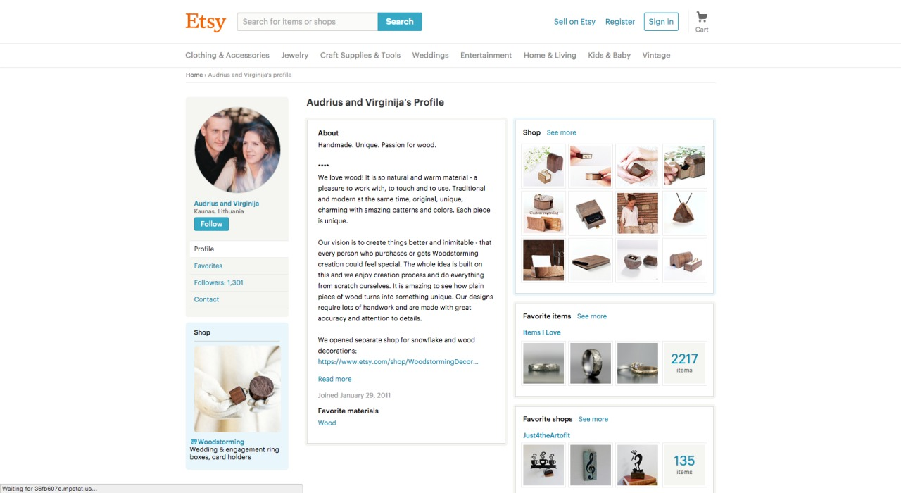 A minimalistic styled profile page by Etsy from UIGarage