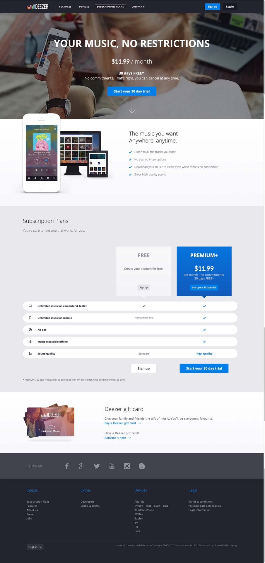 Pricing page by Deezer from UIGarage
