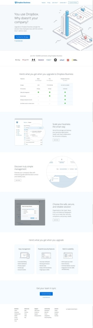 Business Pricing page by Dropbox from UIGarage