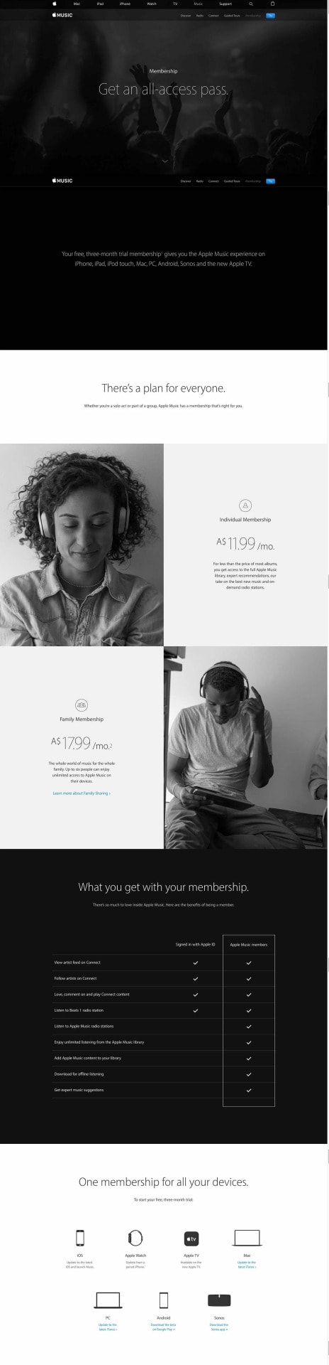 Pricing page by Apple Music from UIGarage