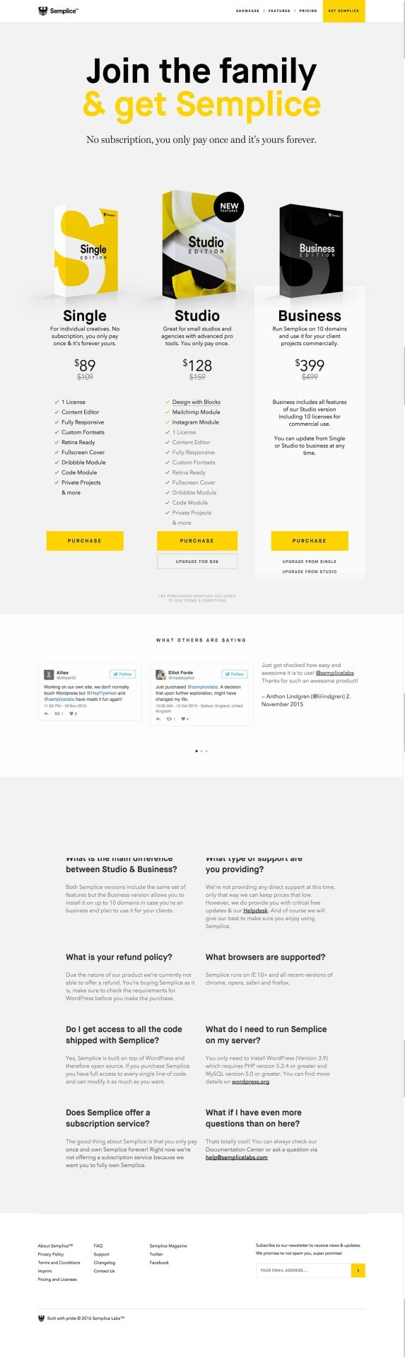 Pricing by Semplice from UIGarage