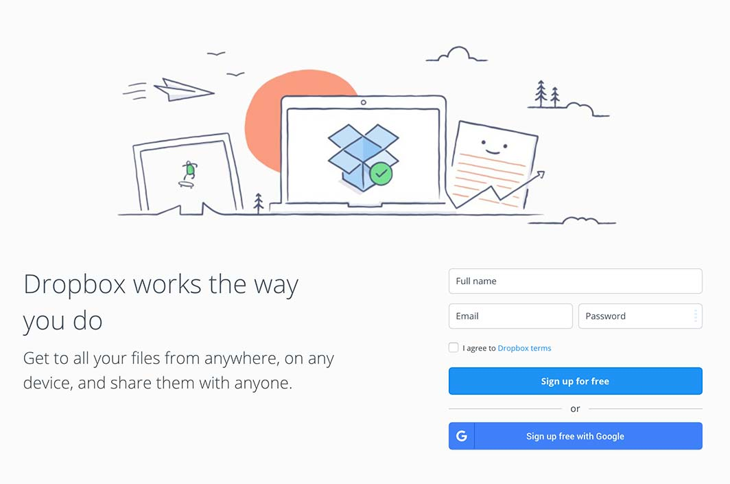 Signup by Dropbox from UIGarage