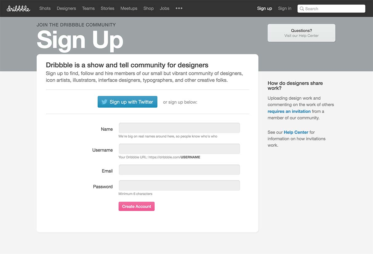 Signup by Dribbble from UIGarage