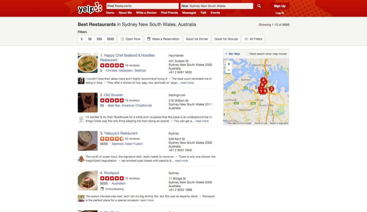 Directory filters by Yelp from UIGarage