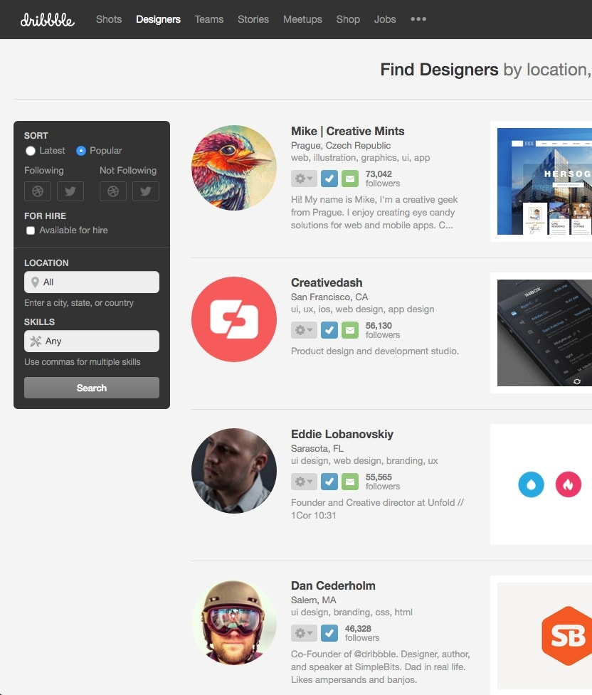 Basic directory filters by Dribbble from UIGarage