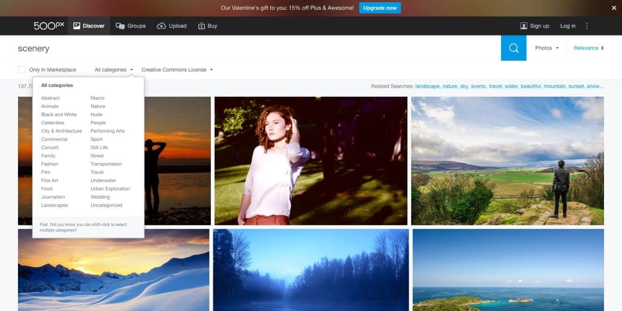 Simple gallery filters by 500px from UIGarage
