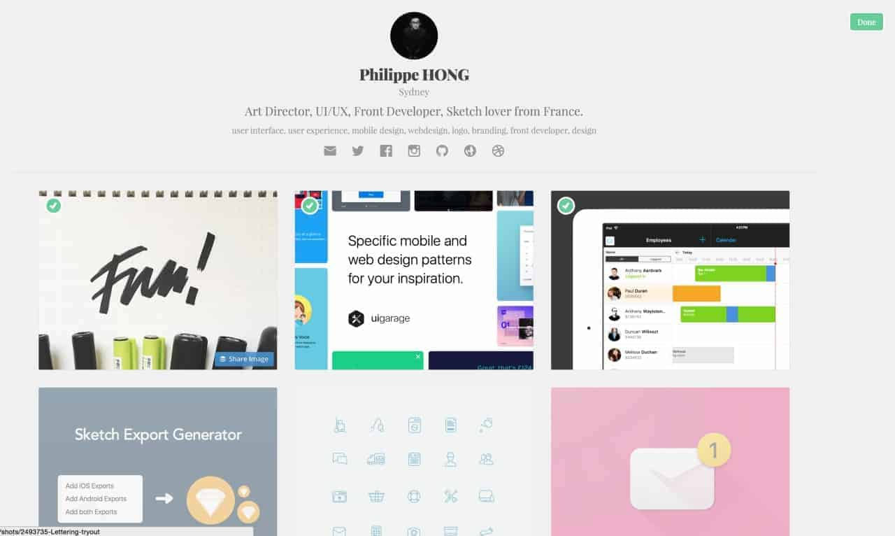 Selection by Dribbble from UIGarage