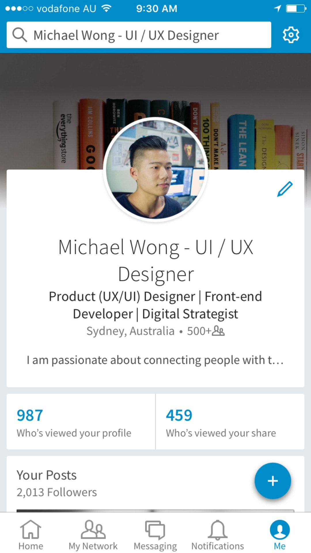 Tab bar on iOS by Linked In from UIGarage