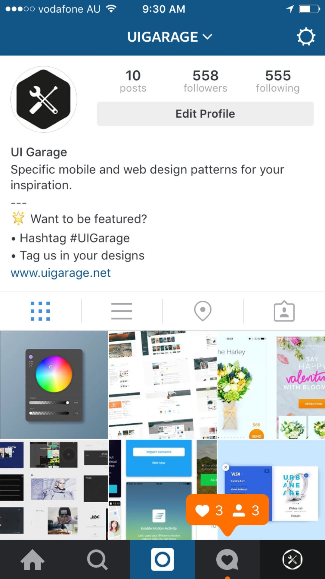 Tab bar by Instagram from UIGarage