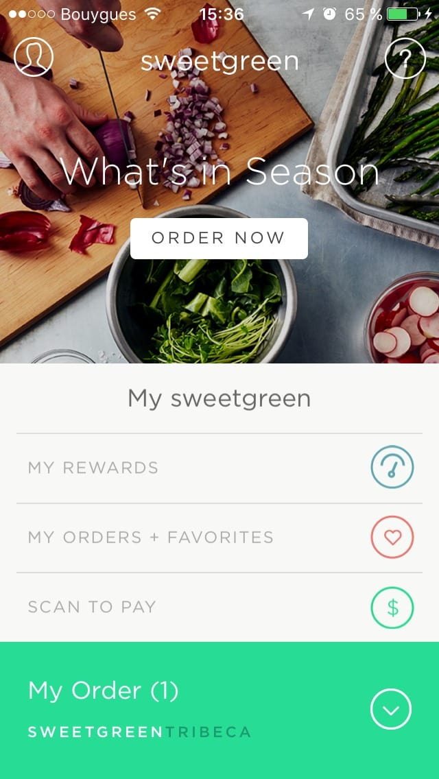 Homepage by Sweetgreen from UIGarage