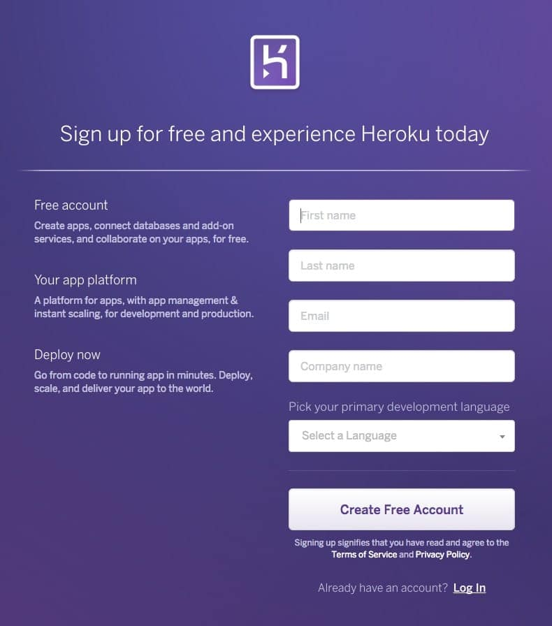 Signup by Heroku web from UIGarage