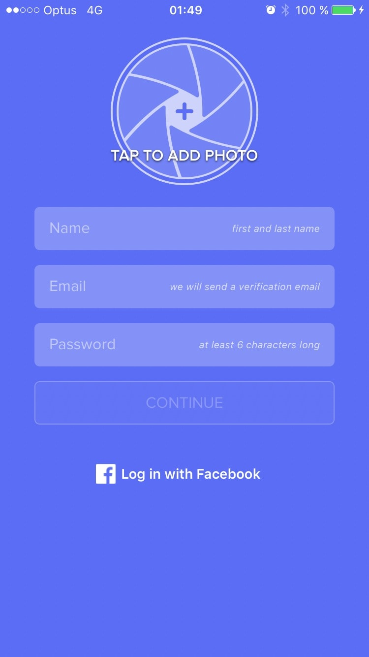 Signup screen by Airtime from UIGarage