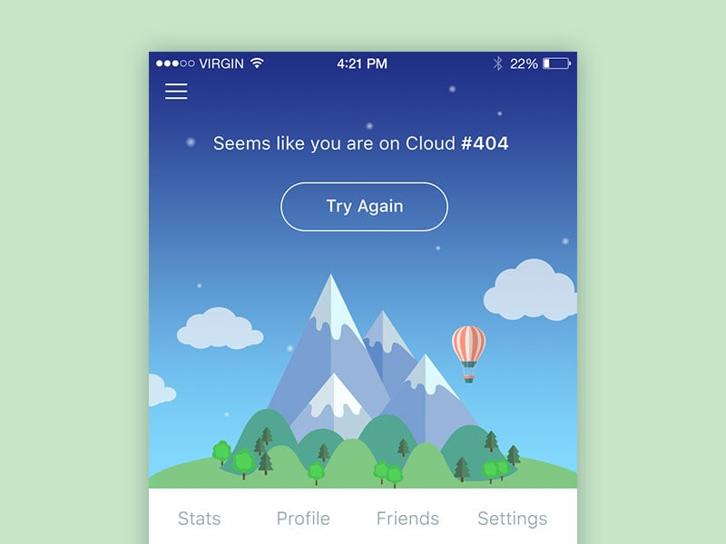Beautifully, illustrated 404 screen on iOS iPhone from UIGarage