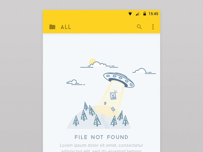 Simple, illustrated 404 screen on Android from UIGarage