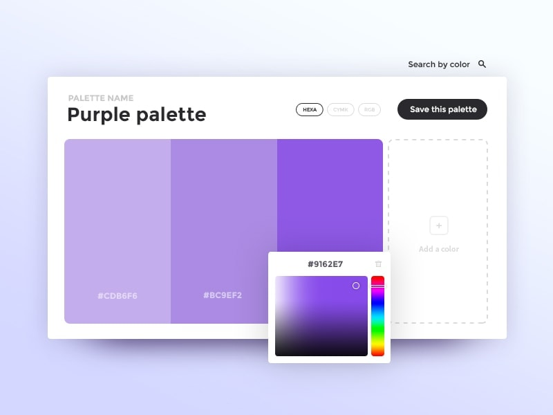 Beautiful colour picker design by Adriengervaix from UIGarage