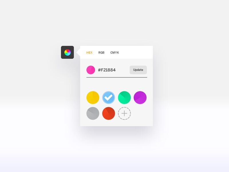 Minimalist color picker by Tata Jean from UIGarage