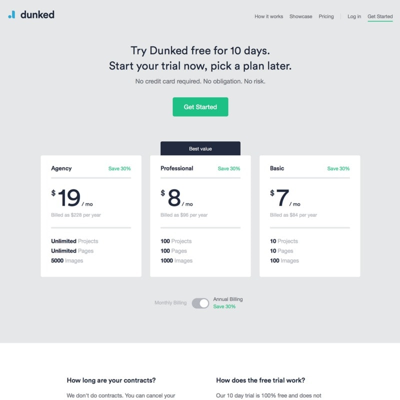 Pricing page by Dunked from UIGarage