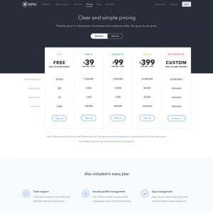 Pricing page by ionic from UIGarage