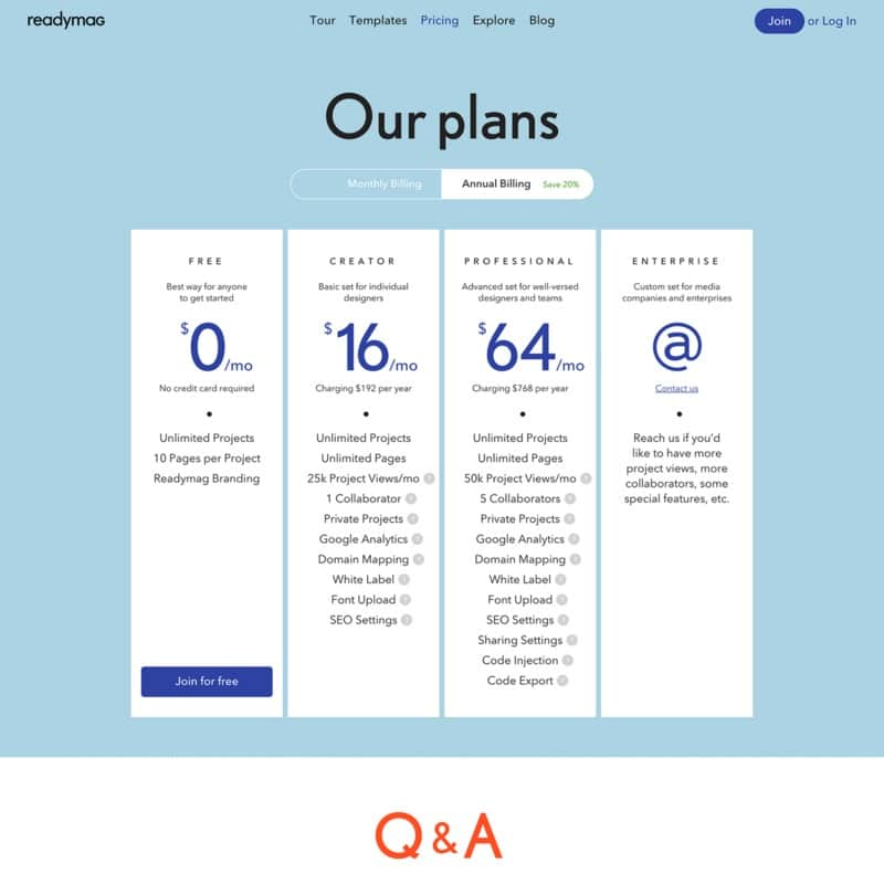 Pricing page by ReadyMag from UIGarage