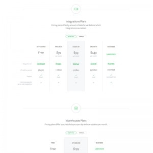 Pricing page by Segment from UIGarage