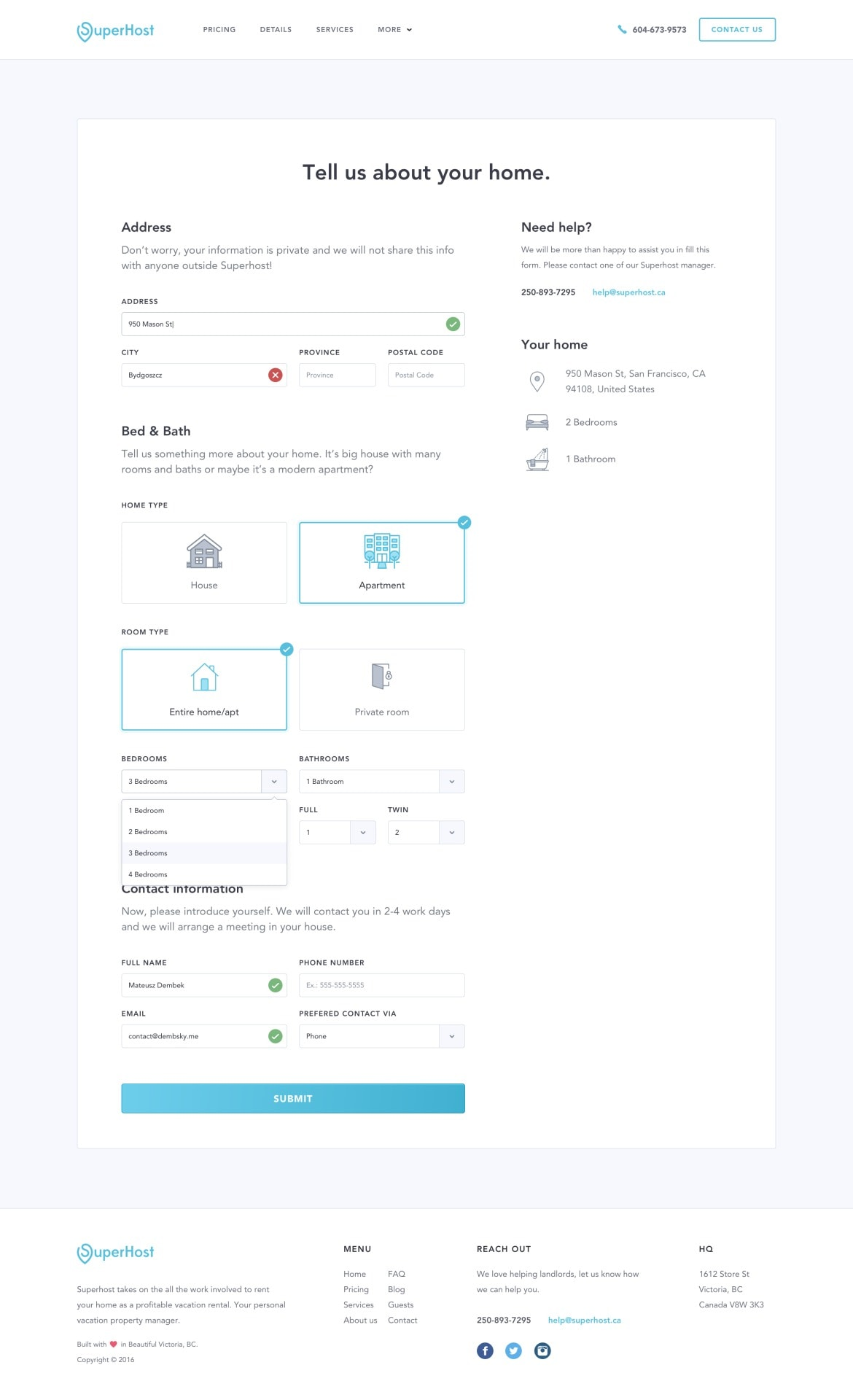 Forms completion page by Dembsky from UIGarage