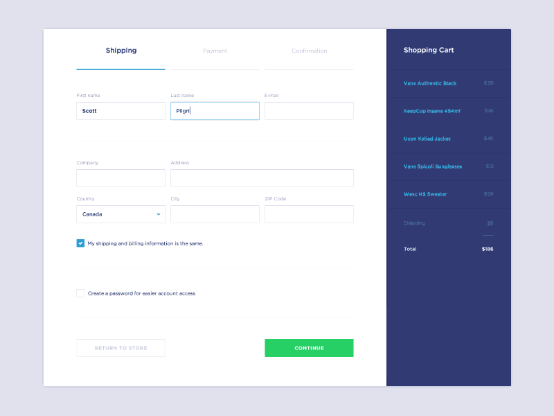 Forms for shipping by Jaromir Kveton from UIGarage