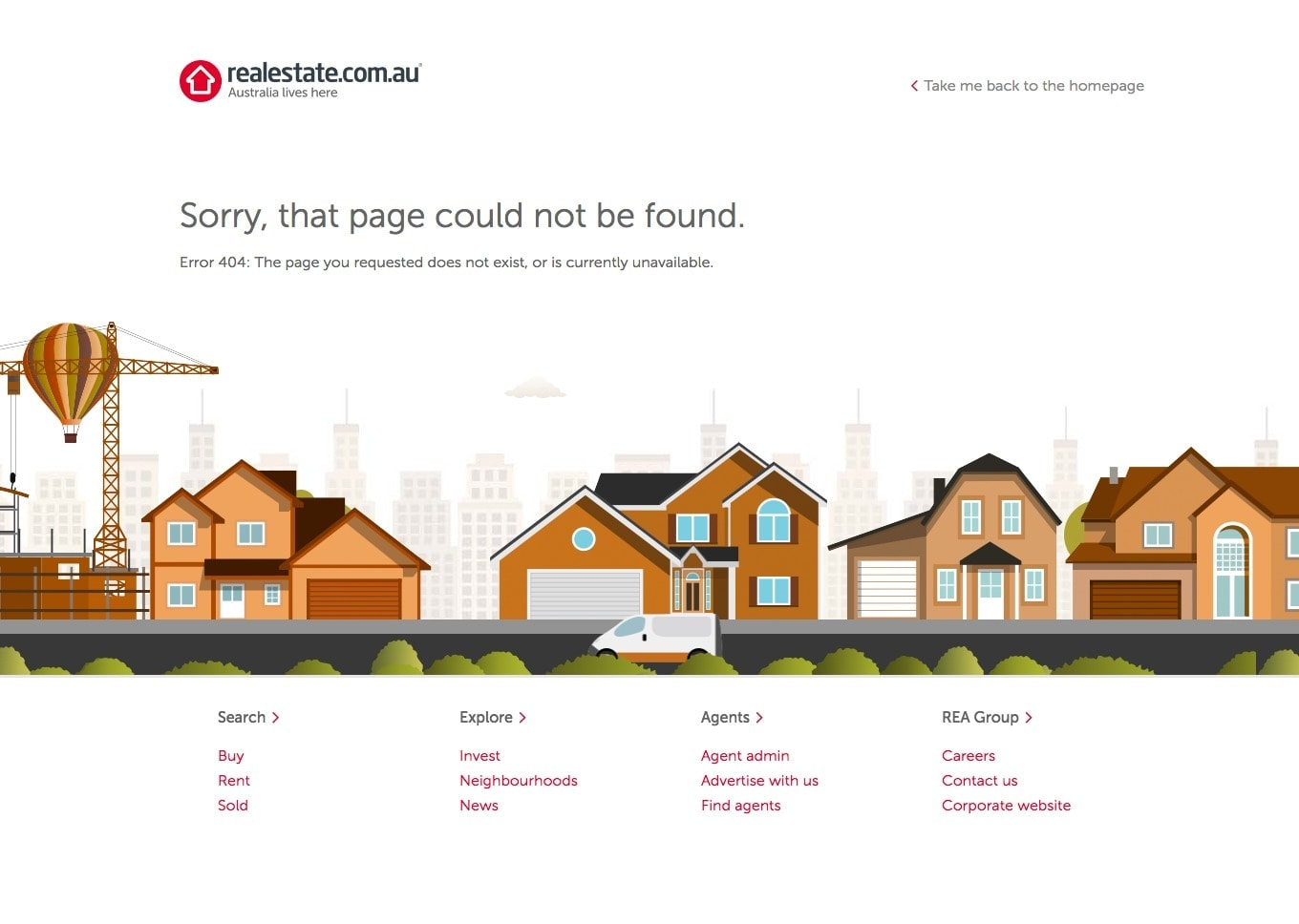 404 page by Realestate.com from UIGarage