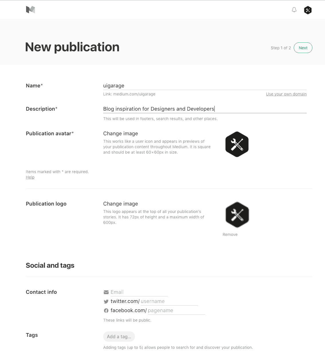 Create publication by Medium