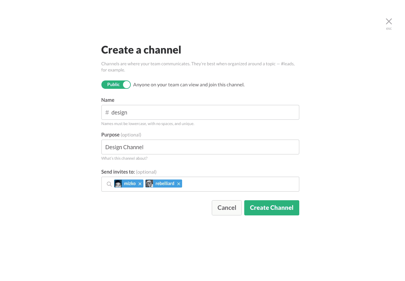 Create channel by Slack from UIGarage