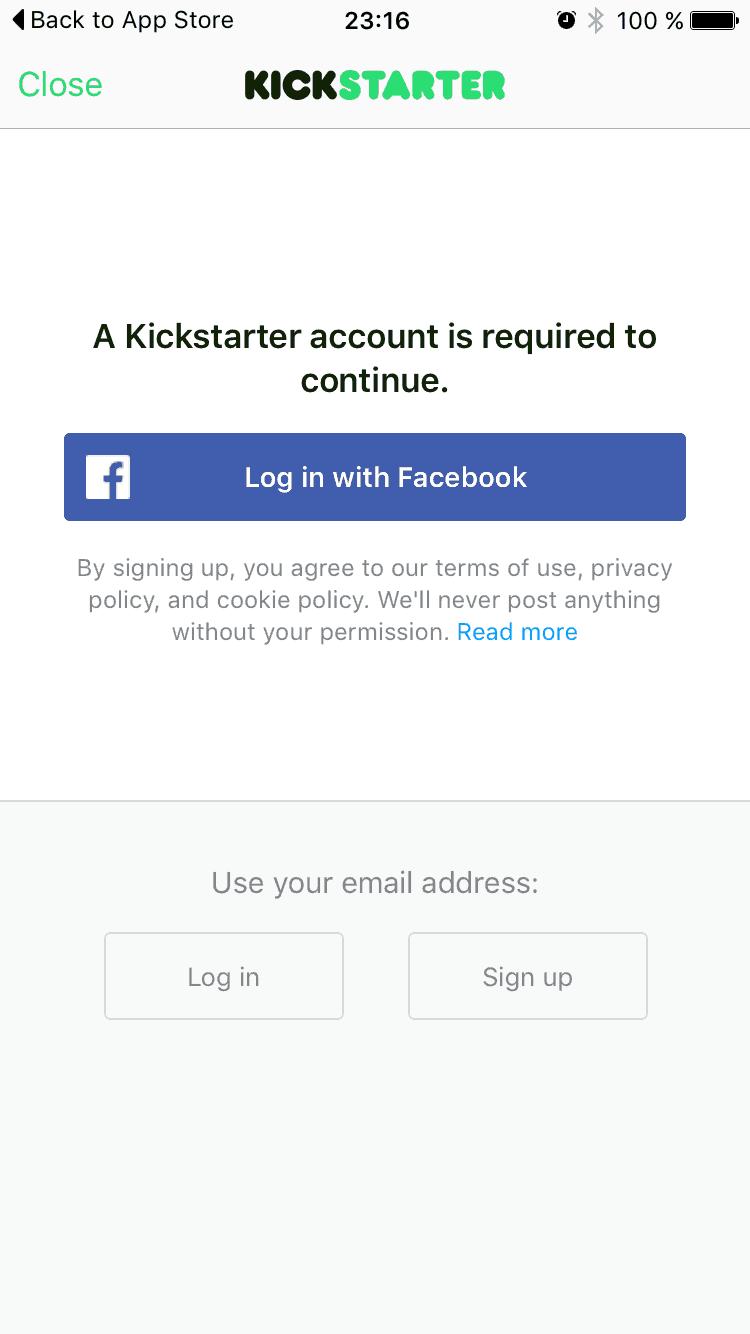 Login page on iOs by kickStarter