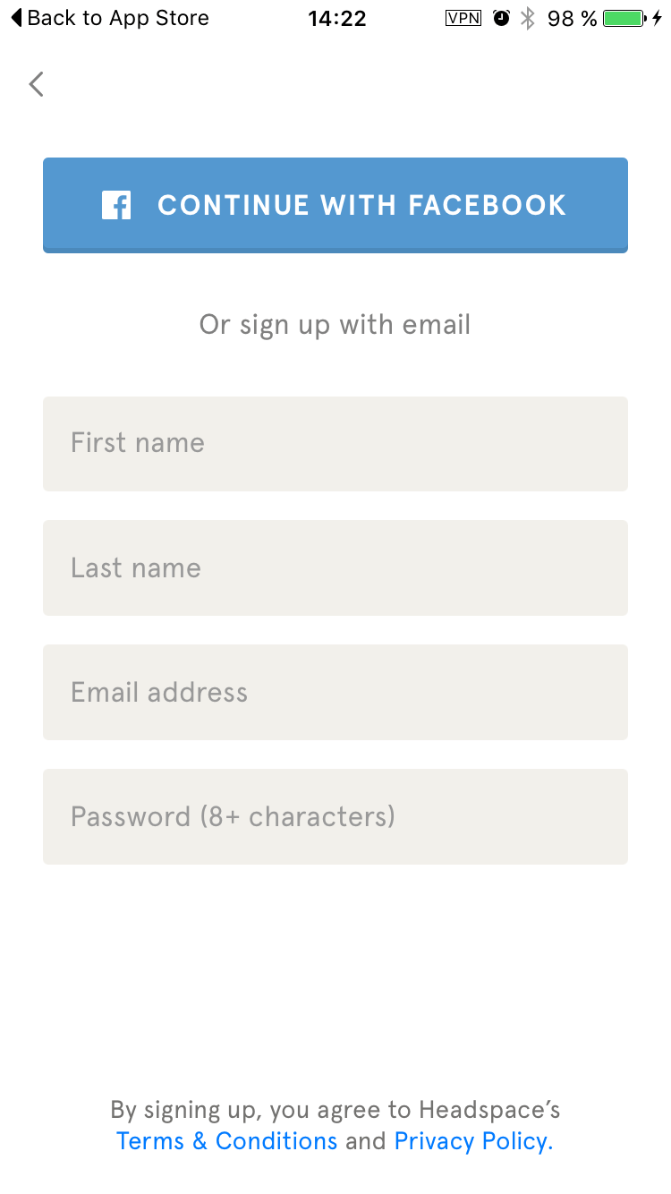 Signup on  iOS by Headspace