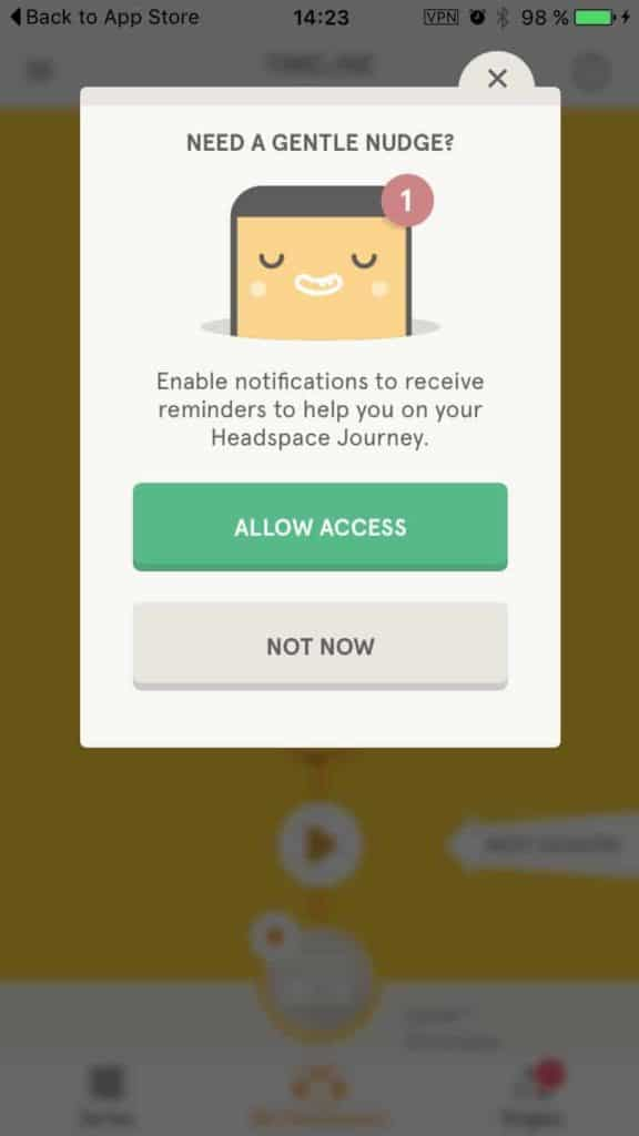 Allow permission on  iOS by Headspace from UIGarage