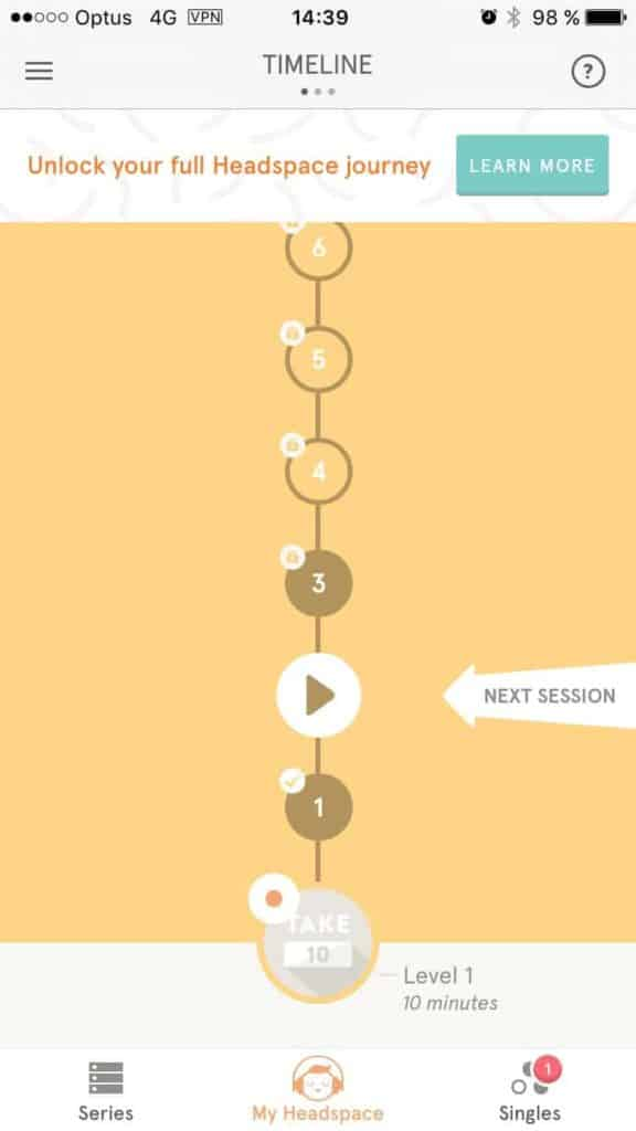 Timeline on iOS by Headspace from UIGarage
