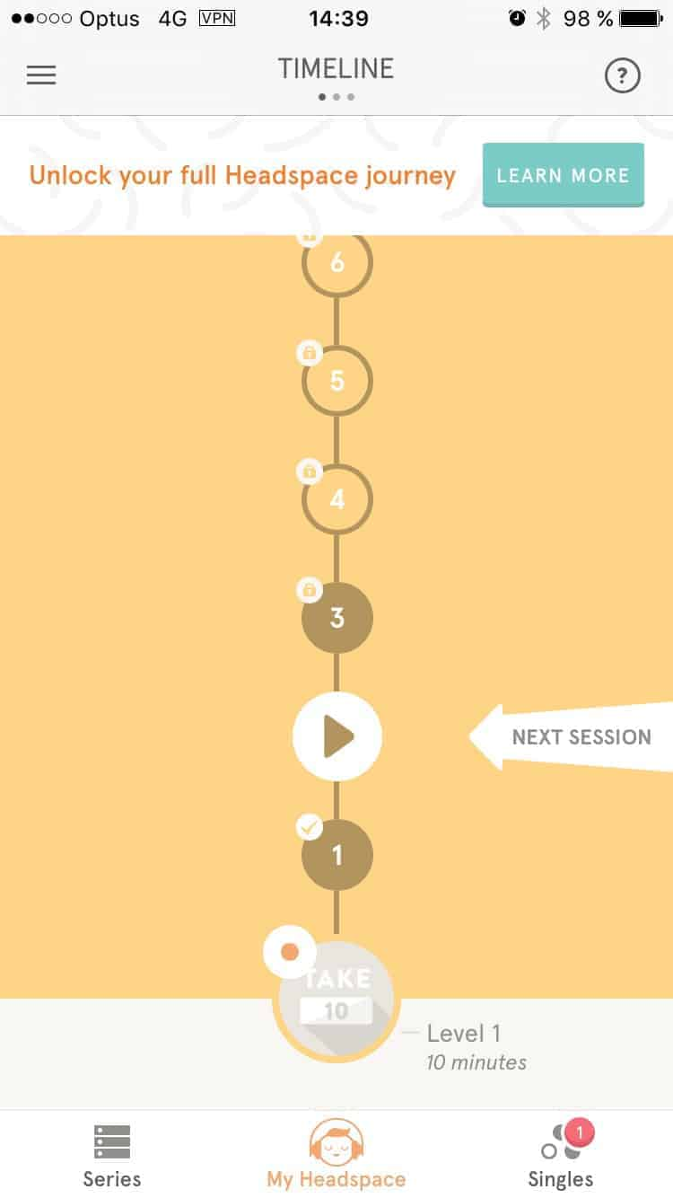 Timeline on iOS by Headspace