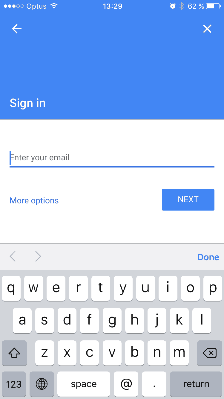 Sign in / Add account on iOS by Google