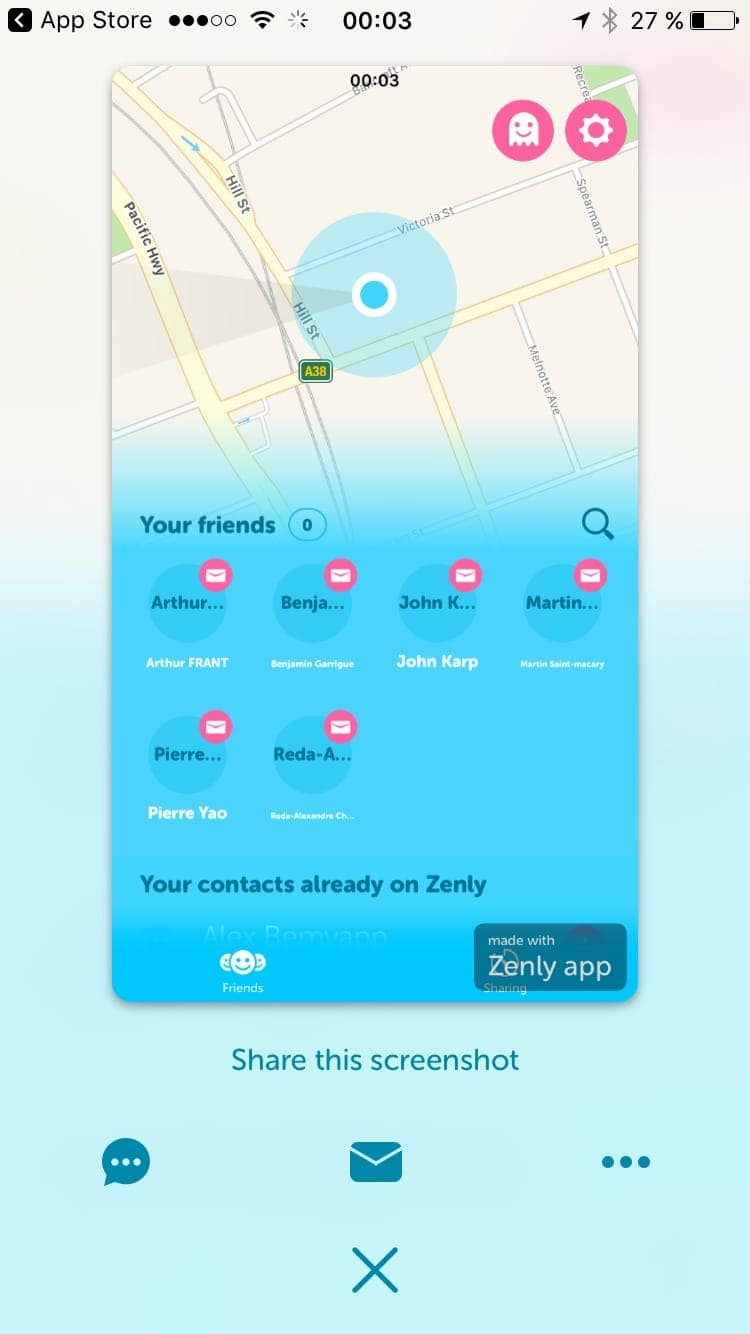 Take screenshot on iOS by Zenly